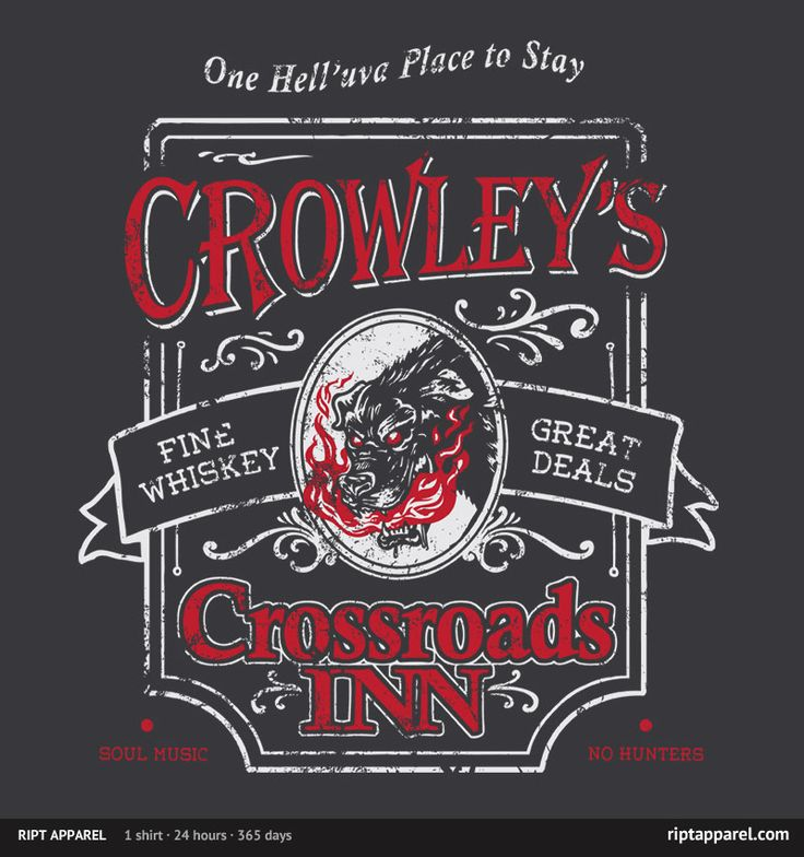 """""""Crowley's Inn"""" by HeartJack T-Shirt for sale only on May 3rd, 2012 $10 www.riptapparel.com: Supernatural Shirt, Crowley S Inn, Supernatural Crowley S, Tshirts, Crossroads Inn, Crowley S Crossroads, T Shirts, Fandom"""