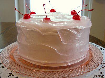 Maraschino Cherry Cake with Fluffy Cherry Frosting