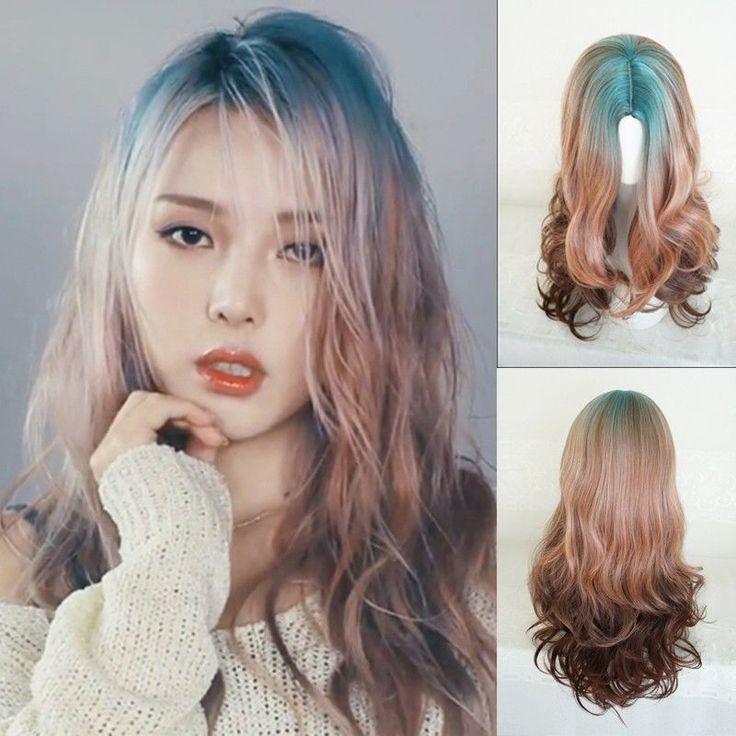Part Bangs Harajuku Blue Mix Wig Long Wavy Curly Gradient Hair Cosplay Costume  | eBay