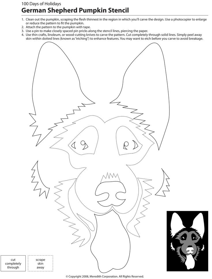 German Shepherd Pumpkin Carving Stencil