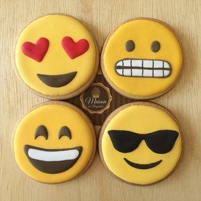 Biscoitos amanteigados, decorados Tema Emoji.