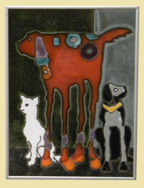 obrazek ceramiczny szkliwiony psy - KRAKÓW