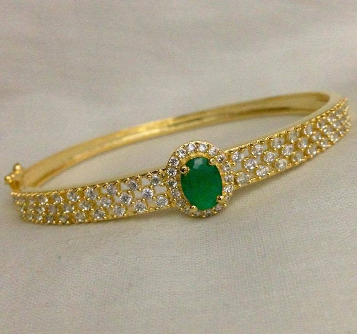 CZ and emerald stone kada Code : BAK 383 Price : 750/- Whatsapp to 09581193795/- for order processing....