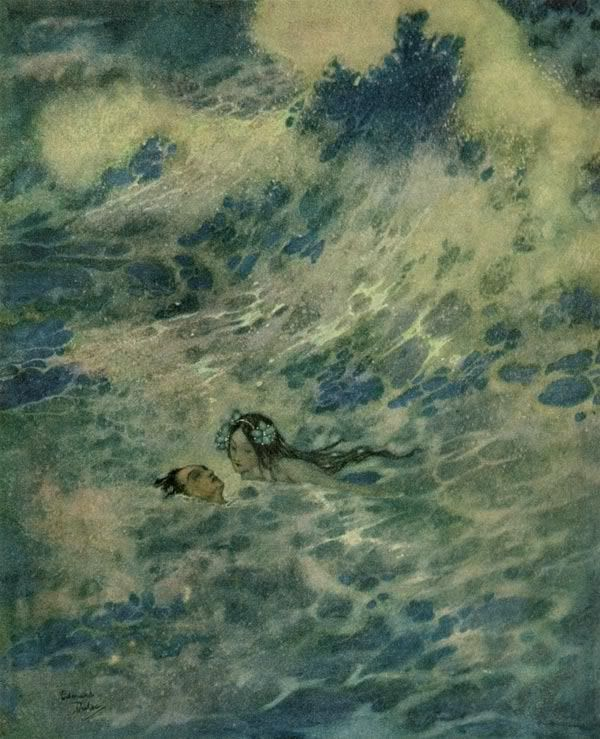 Edmund DulacLittle Mermaids, Christian, Illustration, Art Prints, Edmund Dulac, The Little Mermaid, The Waves, Golden Age, Pictures Book