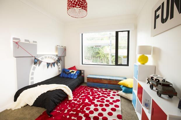 WEEK THREE: KIDS ROOM Loz and Tom went for a simple room with lots of fun, bright elements #theblocknz