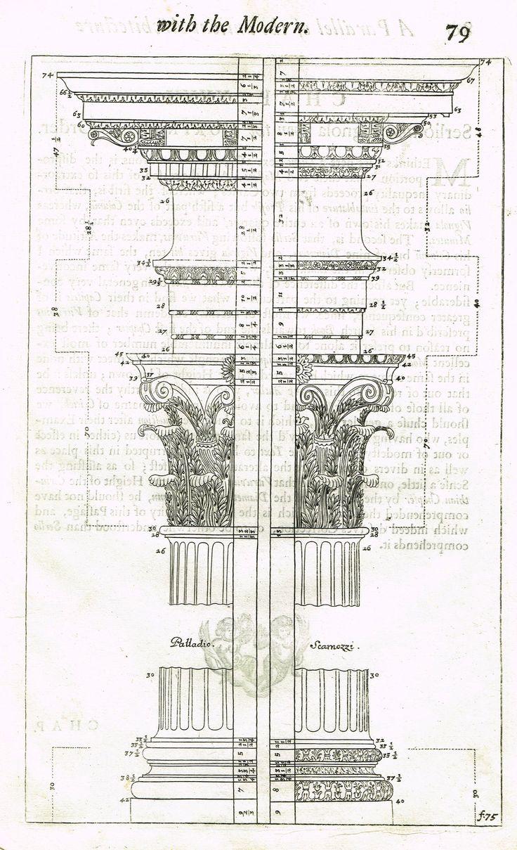 """Freart's Ancient Architecture - """"PALLADIO - SCARNOZZI - F:75"""" - Copper Engraving - 1728"""