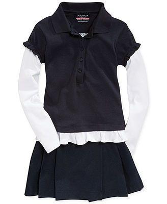 Nautica Little Girls' Uniform Layered Ruffle Shirt & Pleated Scooter Skirt