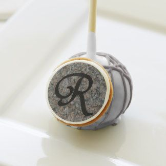 Monogram R Cake Pops with matching server tray.  one dozen tasty treats for a small dinner event.