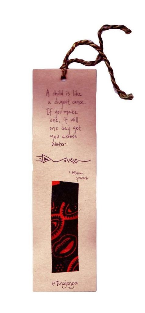 Kitenge Fair Trade African Proverb Canoe Bookmark