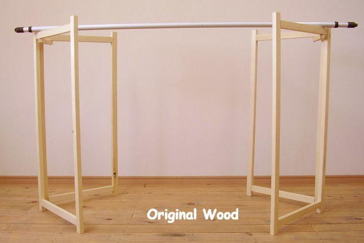 オリジナルウッドの移動に便利な木製物干し台