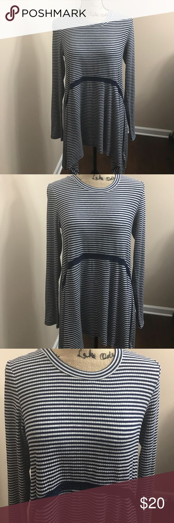 SALE NWOT Asymmetrical Top Blue and white top from Red Camel! New without tags. Crochet detailing with a slinky soft fabric. Size Medium Red Camel Tops Blouses