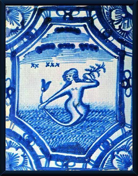 Дворец Меншикова. Печной изразец с изображением русалки.