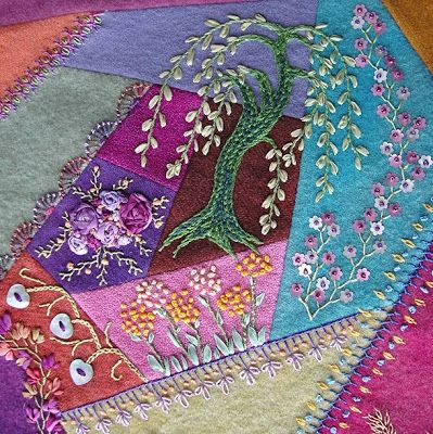 crazy quilt block by Pam Ehlers Stec, wool, thread and silk ribbon embroidery, detail