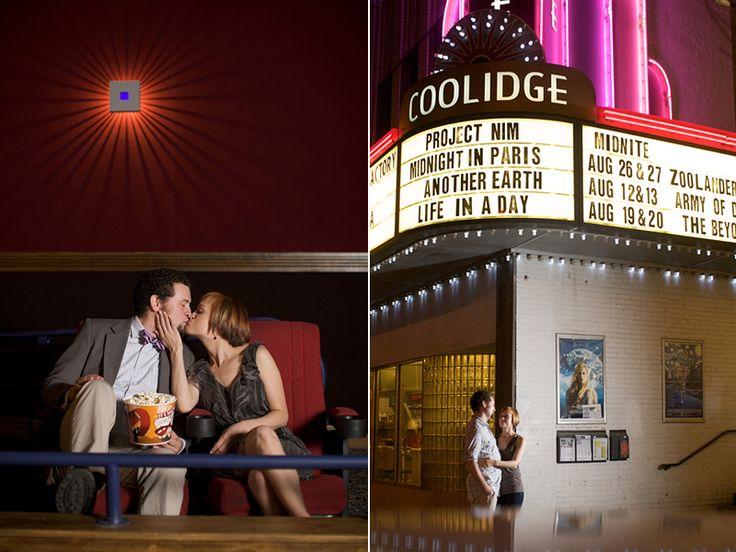 Movie theater engagement photo