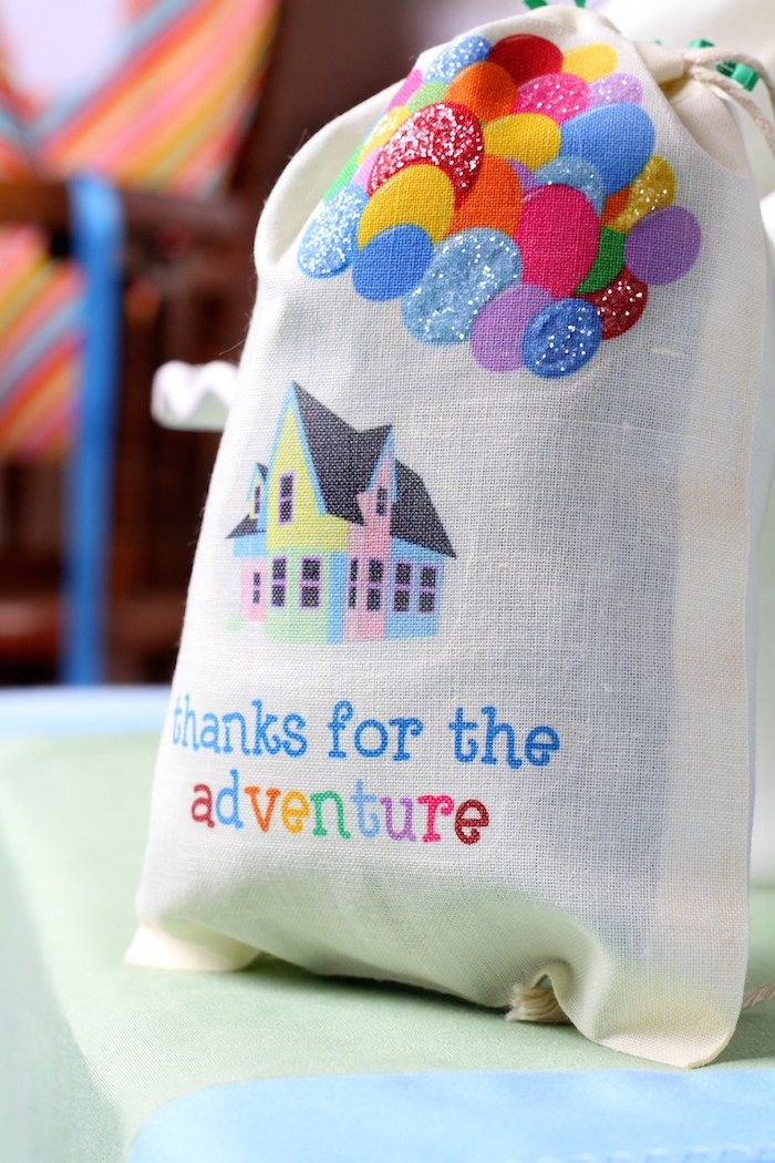 Disney's Up themed birthday party via Kara's Party Ideas : The lovely colourful favor bag