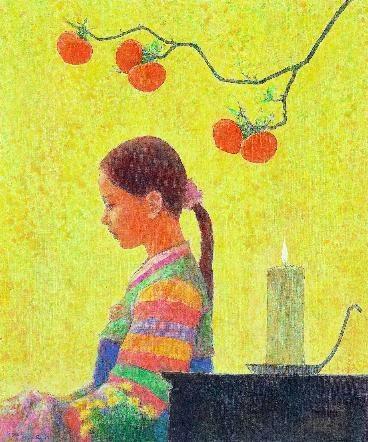 """< 그리움 >, 박항률, 2008. 내가 좋아하는 시가 떠오르는 처녀의 그림이었다. 이 소녀도 언젠가 신부가 되고 어머니가 되겠지.  - 봄 날이 까닭 없이 슬펐어요- """"  여덟 살 때, 거울을 몰래 들여다보고 눈썹을 길게 그렸지요. / 열 살 때, 나물 캐러 다니는 것이 좋았어요. 연꽃 수놓은 치마를 입고. / 열 두 살 때, 거문고를 배웠어요. 은갑을 손에서 놓지 않았지요. / 열네 살 때, 곧잘 부모님 뒤에 숨었어요. 남자들이 왜 그런지 부끄러워서. / 열다섯 살 때, 봄이 까닭 없이 슬펐어요. 그래서 그넷줄 잡은 채 얼굴 돌려 울었답니다."""" (이상은, 중국 당나라 말기 시인)"""