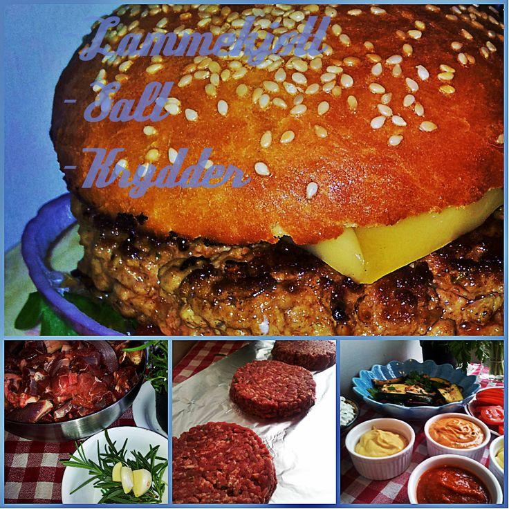 Lamburger, hjemmelaget hamburger av høstens lammekjøtt.
