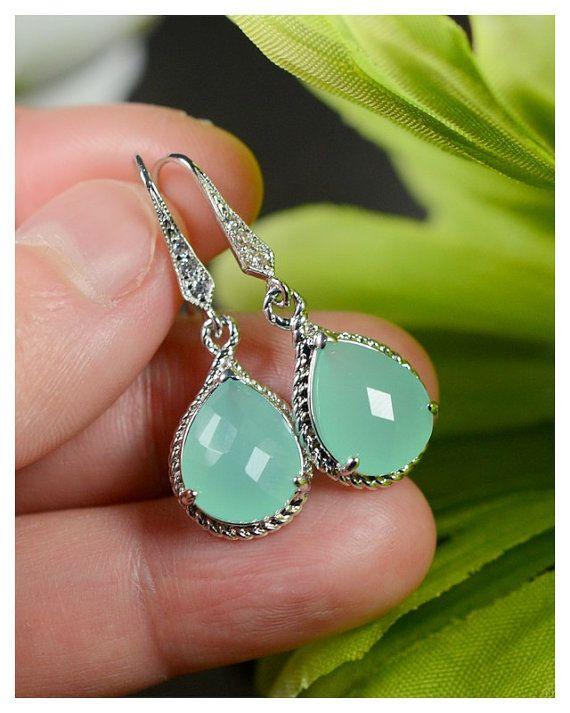 Mint Opal silver Drop Earrings Sea Foam Earrings Bridesmaid Jewelry Wedding,Bridal Wedding Dangle Earrings Bridal Jewelry  Bridesmaid Gift, $29.99