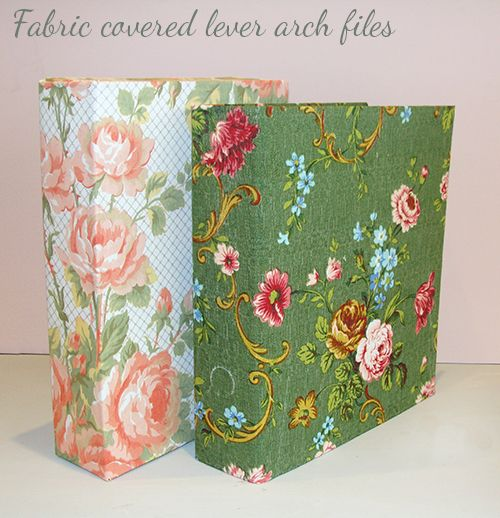 This is a good tutorial on how to cover a lever arch / ring binder with fabric