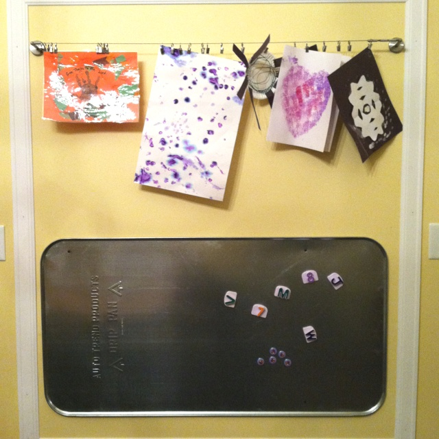 Pinterest inspired kid wall oil drip pan from wal mart for Magnetic board for kids ikea