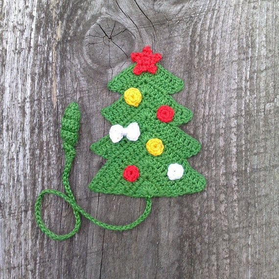 Bookmark Crochet Christmas Tree.  As a bookmark you can use to save a page in books, diaries, paper notebooks etc. Bookmark llength about 25 cm (10 in)  A good gift for fans to read.   All items in the shop: https://www.etsy.com/ru/shop/ElenaGift