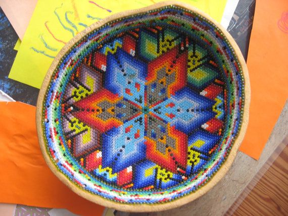 Vintage Huichol BEADED GOURD BOWL Native Mexican by almasvintage, $28.00