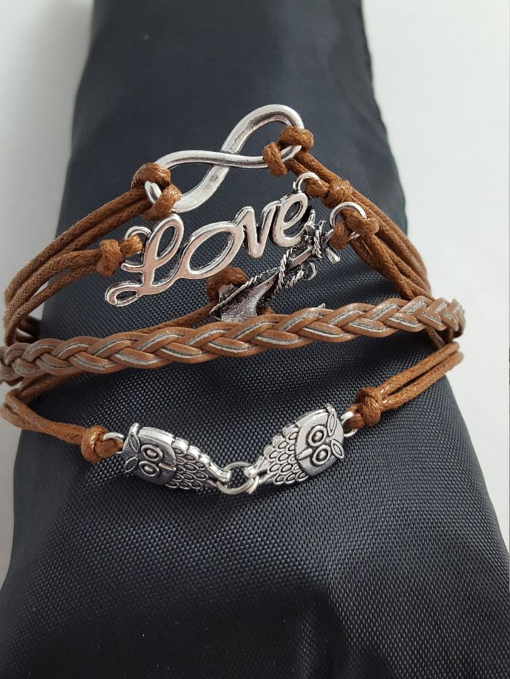 Girls Womens Charm Bracelets Leather ~ Beautiful ~ Hot~FREE Shipping by SmallItemsBigValue on Etsy