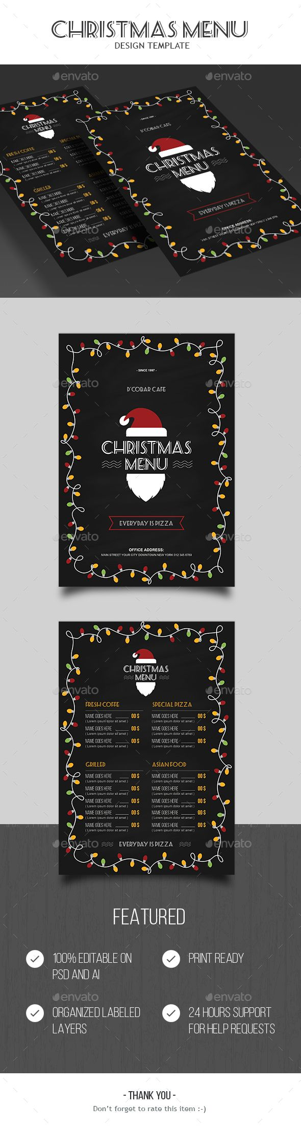 Christmas Food Menu Template PSD, AI Illustrator