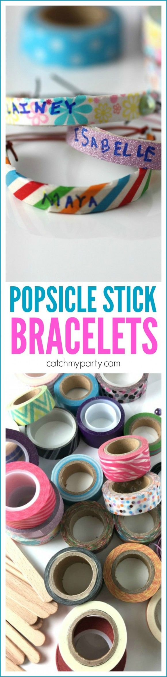 Popsicle Stick Bracelet Craft   CatchMyParty.com