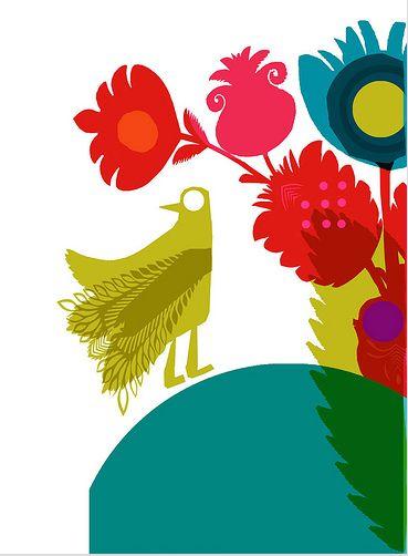 "Digital illustration giclee by Chris Haughton: ""Bengali Flower Print II""."