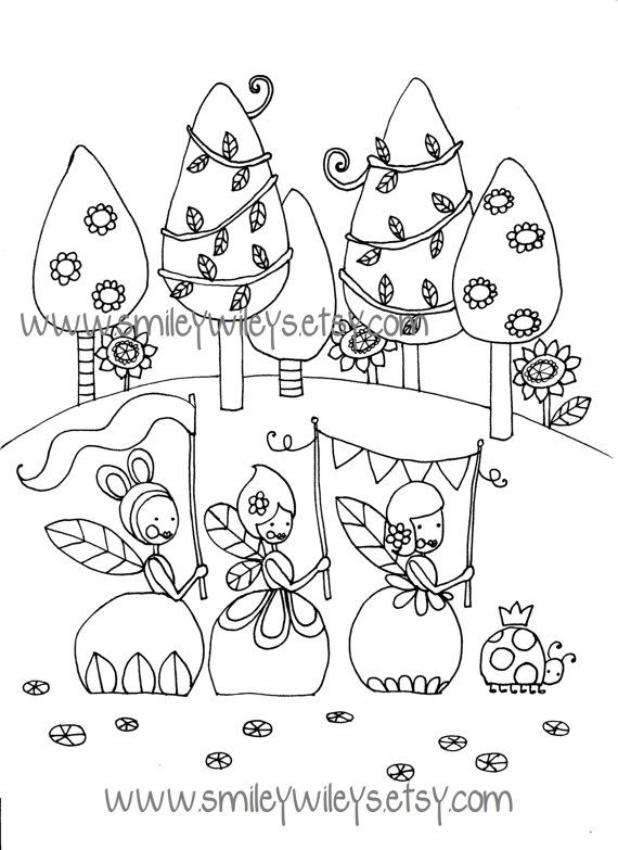 Fairy Happy Printable Colouring Book Pages Set Of By Smileywileys