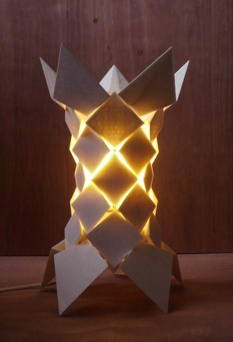 """Flock Lampshade is a """"Design-Fabrication MicroSystem""""; software that lets the user customize the lampshade and an open source 3D printer that produces it."""
