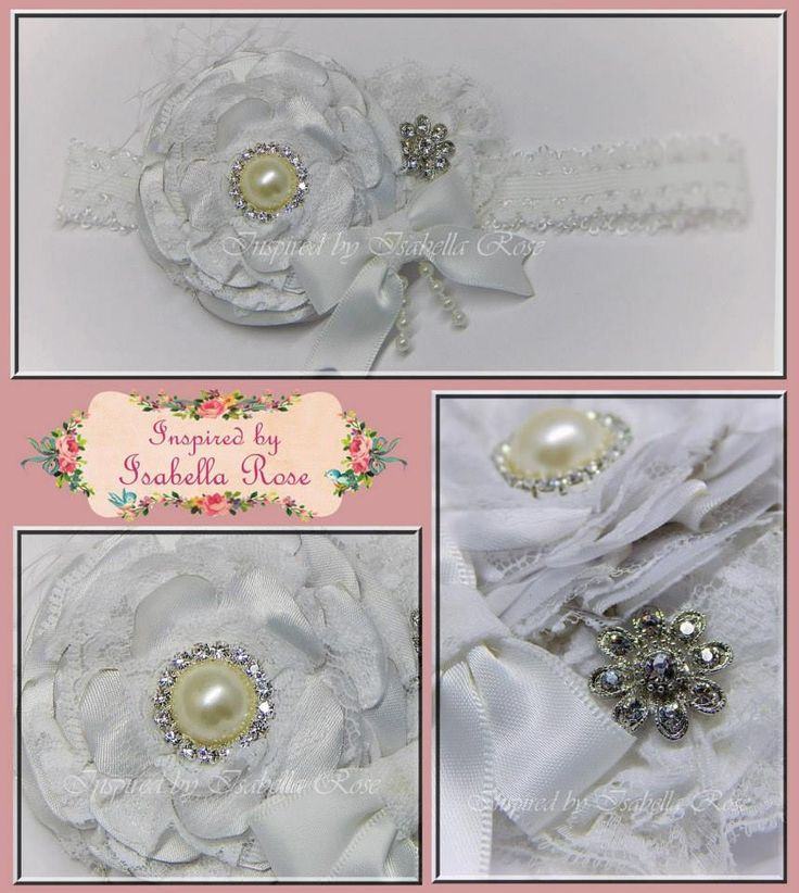 Handmade by Inspired by Isabella Rose Vintage Ruffle Flower Headband (White)