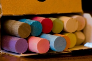 Colorful Chalk - Makes my imagination run wild. I wish I knew where to buy these colors of chalk.
