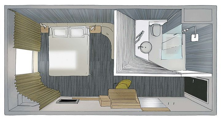 Okko Hôtel, Studio Norguet Design, Nantes : perspective d'une chambre