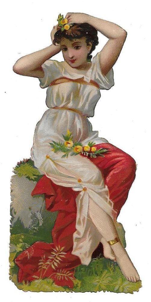 Victorian Die Cut Scrap Grecian Woman Fixing her Hair: