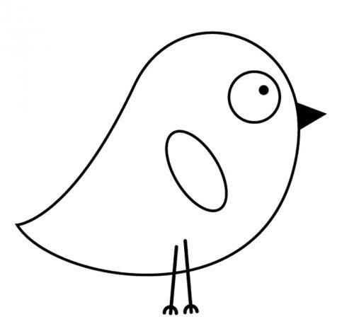 Vögel: Kostenlose Malvorlage: Witziges Küken zum Ausmalen