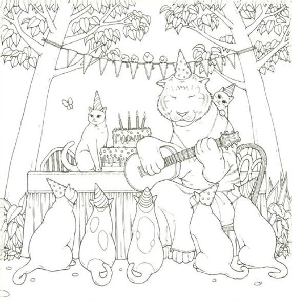 Cat Coloring Therapy Vol 2 Cat Coloring Book By Grace J Etsy Cat Coloring Book Coloring Books Color Therapy
