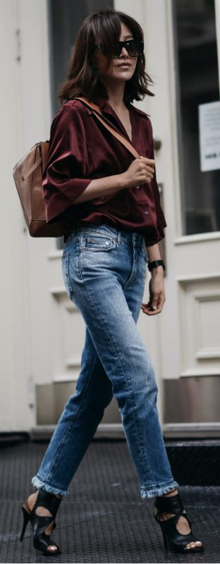 Alternative to a classic look + Diana Z. Wang + straight-cut jeans + awesome frayed edges + chic burgundy blouse + some statement heels + must have look this season.    Distressed Mid-Rise Slim Boyfriend Jeans/Silk Blouse: Acne Studios, Back Keyhole Sandal: Aquazzura