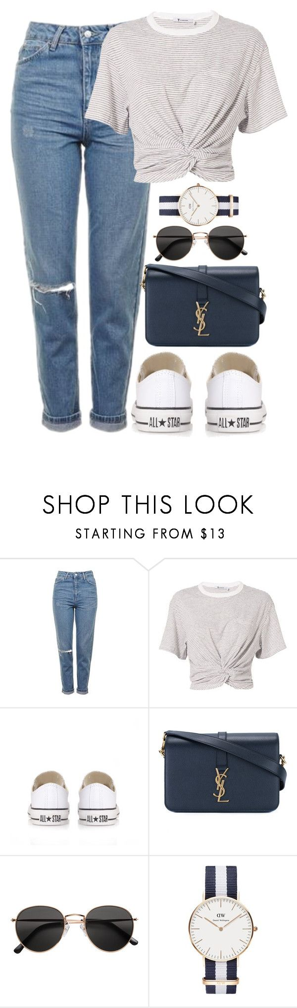 """""""☄️"""" by megsidc ❤ liked on Polyvore featuring Topshop, T By Alexander Wang, Converse, Yves Saint Laurent, H&M and Daniel Wellington"""