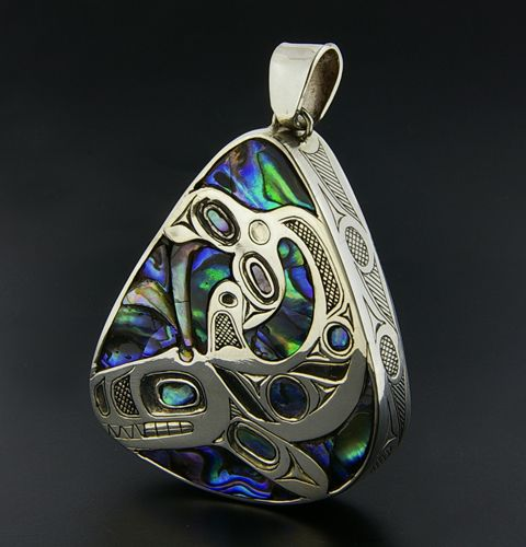 Barry Wilson Northwest Coast Native Pendant, Killerwhale, Sterling Silver with Abalone and Turquoise