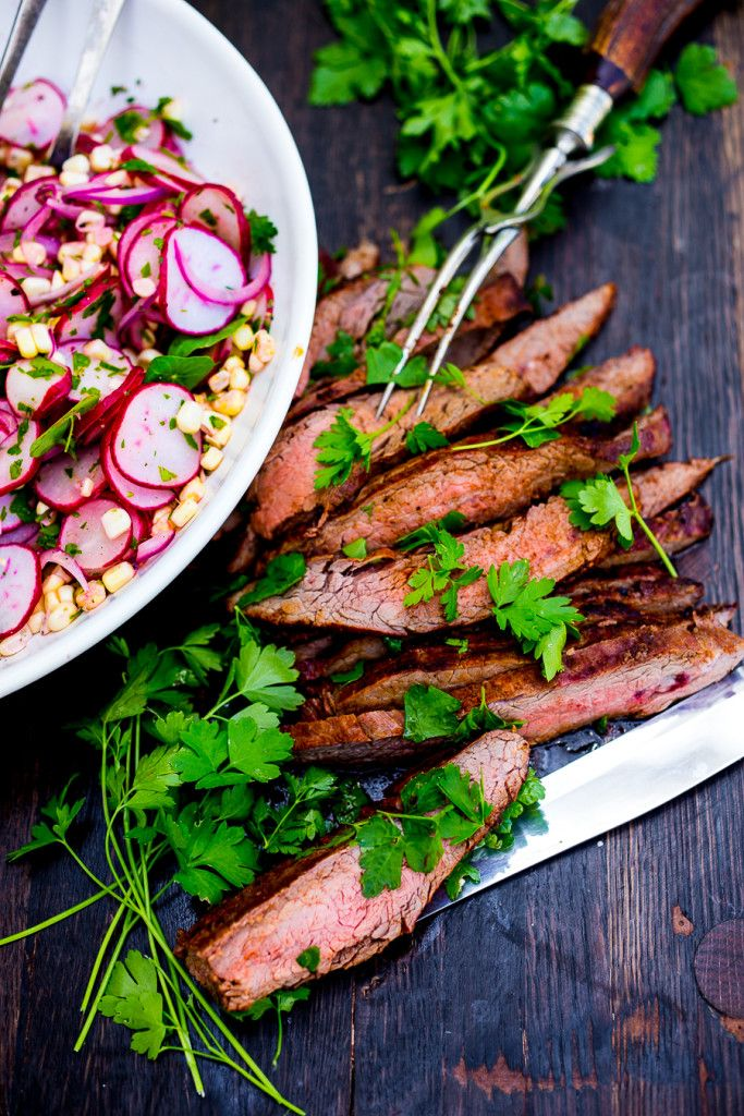 Grilled Flank Steak with Sweet Corn and Radish Salad