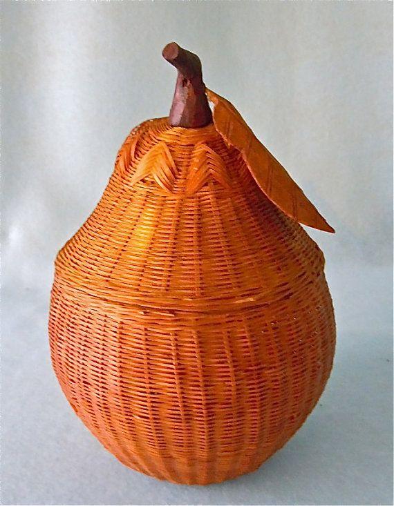 Vintage Wicker Pear Basket