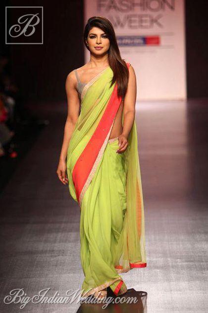 Priyanka Chopra in a Manish Malhotra saree at LFW 2013