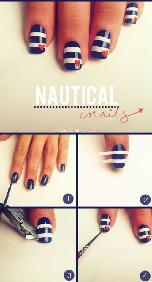 Love these nautical nails. Great way to make a straight line, use manicure tape!