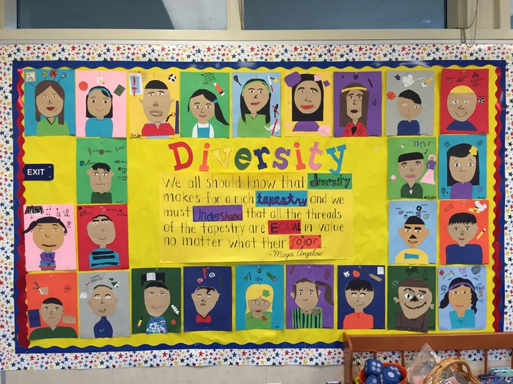 Diversity bulletin board with quote from Maya Angelou including self-portrait…