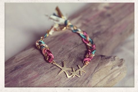 Starfish, Braided With Love. Made from 14k gold plated pendant and silky satin ribbons.