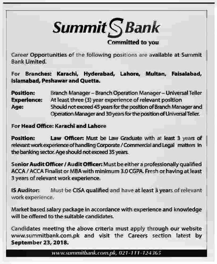 summit bank new jobs september 2018 tellers  branch