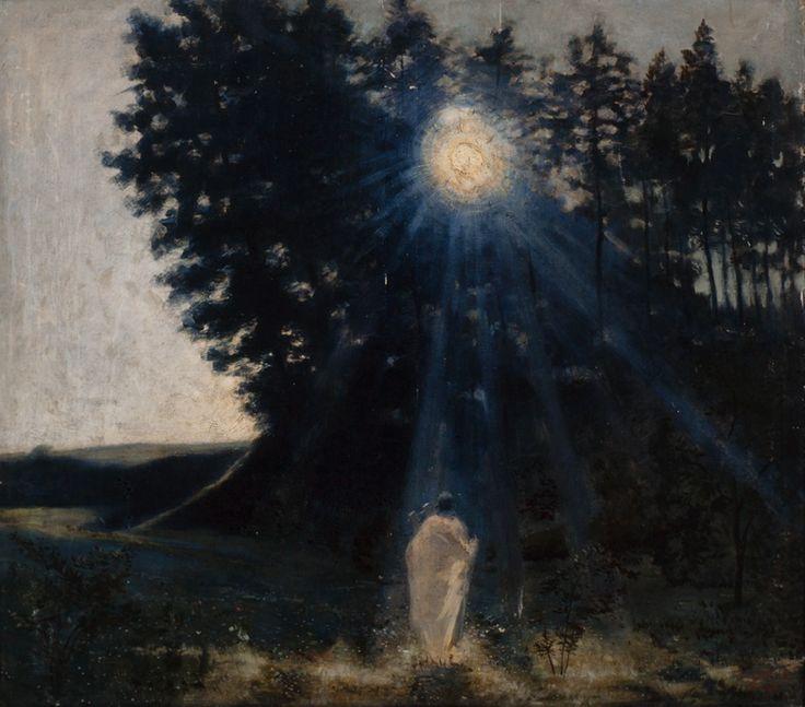 """""""Paysage au clair de lune"""" by Jean Delville, 1887-1890"""