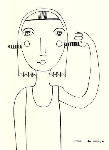 """""""A veces no quisiera oir"""" Dibujo con rapidografo Autoria: Emilia Escalante Ariza"""